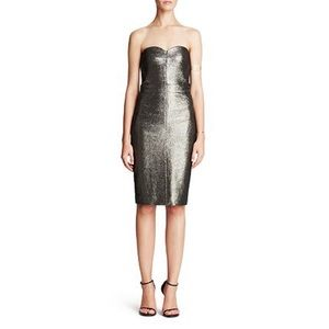 Trina Turk Silver Metallic Gold Strapless Dress